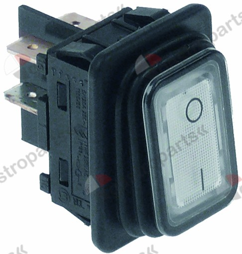 348.035, rocker switch mounting measurements 30x22mm white 2NO 250V 16A 0-I connection male faston 6.3mm