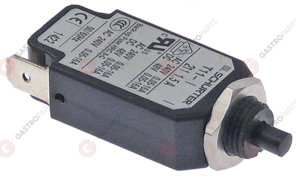 348.037, overload switch 1-pole drop-away current 1,5A rated 240V nominal 0.05-16A