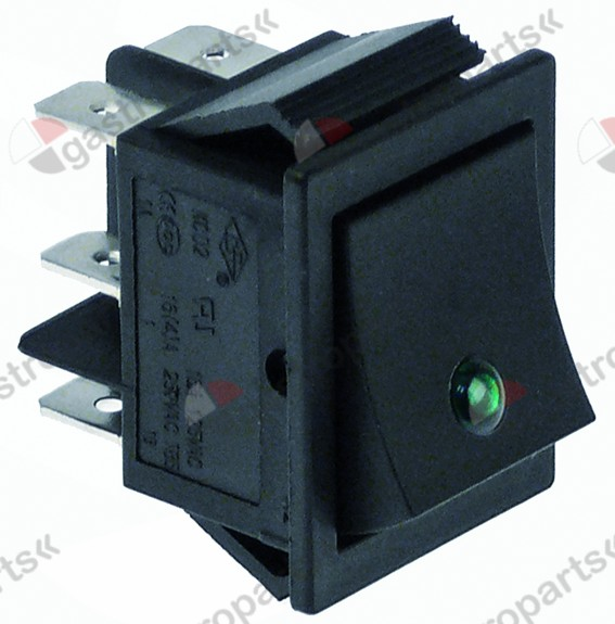 348.040, rocker switch mounting measurements 30x22mm green 2CO 250V 16A illuminated