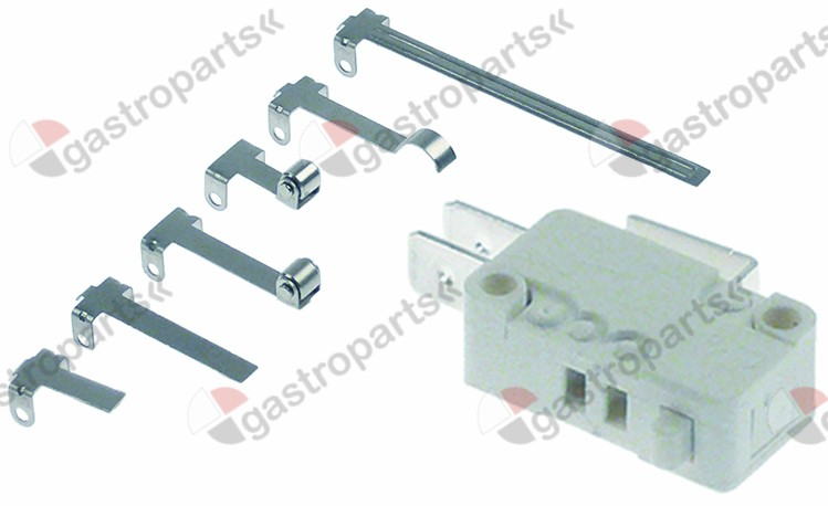 348.042, microswitch with plunger 250V 16A 1CO connection male faston 6.3mm L1 27,8mm