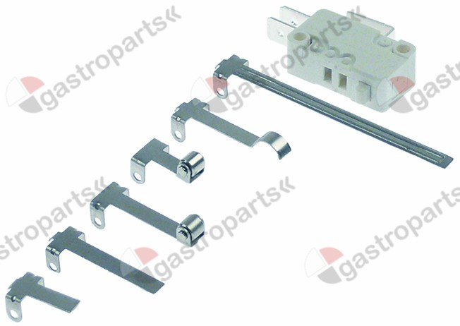 348.043, microswitch with plunger 250V 16A 1CO connection male faston 6.3mm L1 27,8mm