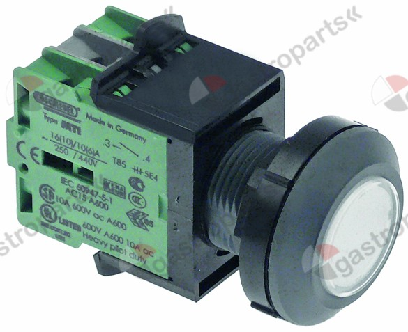 348.048, momentary switch ø 30mm anthracite/transparent IP67 3NO sequence 0-1 with membrane