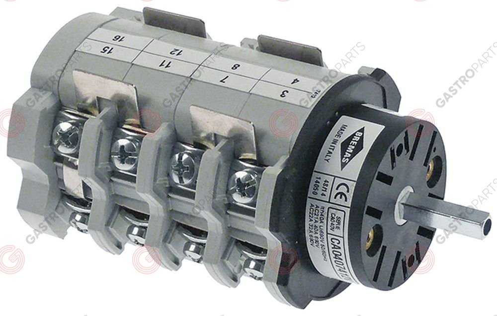 348.052, rotary switch sets of contacts 8 3 1-0-2 type CA0407412V 600V 40A shaft ø 5x5mm