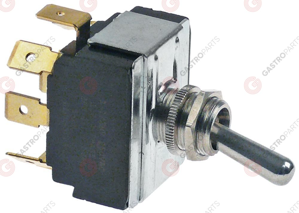 348.058, toggle switch thread M12x0.75 3CO 250V 12A ON-OFF-ON male faston 6.3mm with neutral position