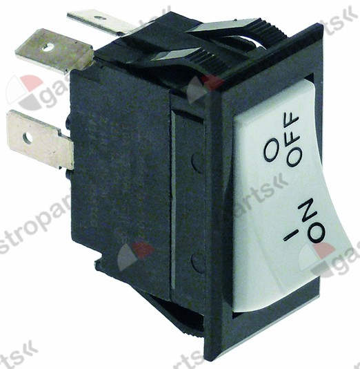 348.062, rocker switch mounting measurements 37x21mm white/black 2NO 250V 15A 0-1