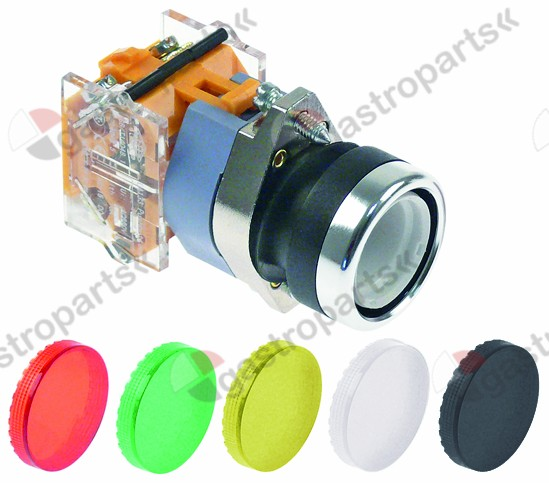 348.064, push switch ø 22mm 1NO/1NC 660V max. 16(4)A 0-1 latching red/yellow/green/white/black