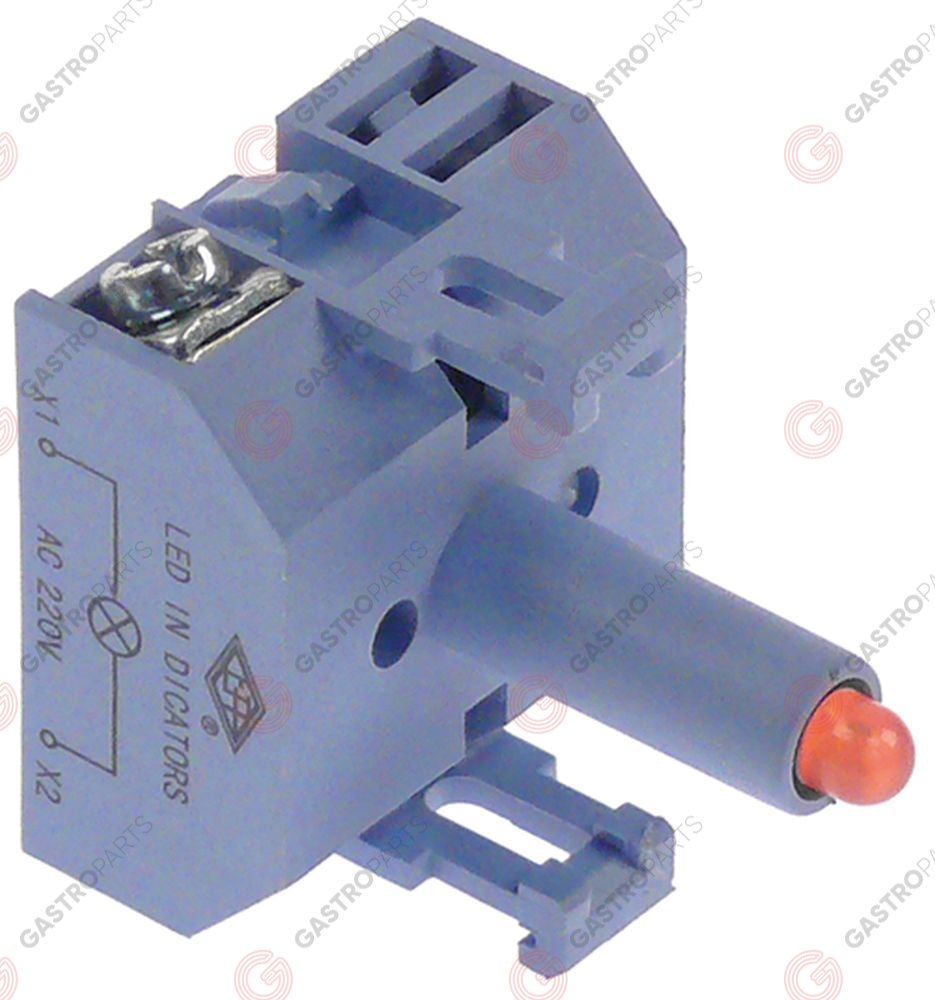 348.077, indicator lamp 230VAC red LED connection screw 230V voltage AC