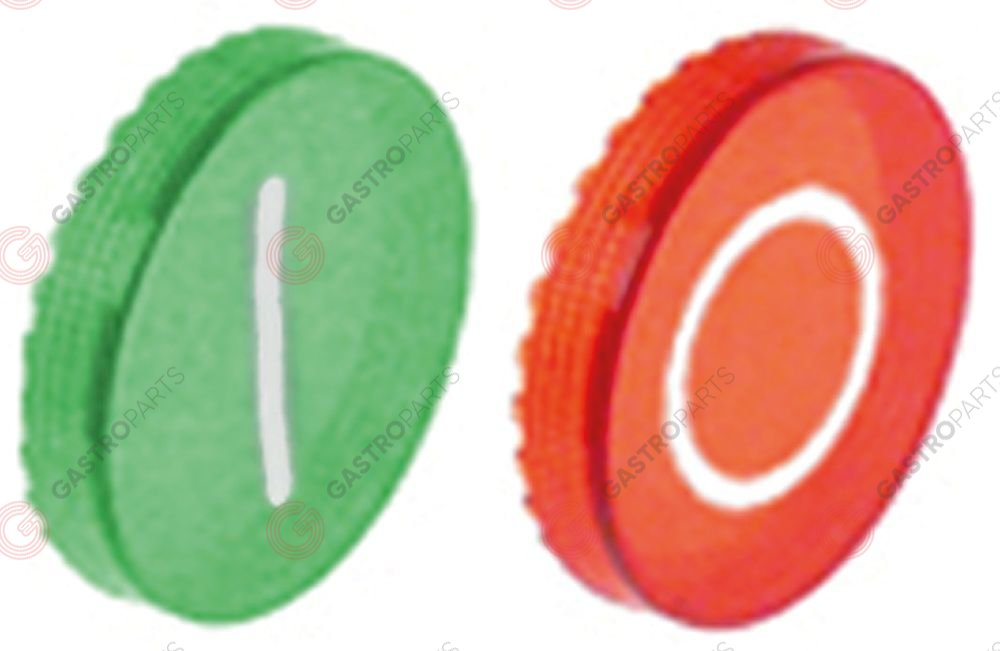 348.085, button plate ON/OFF green/red plastic