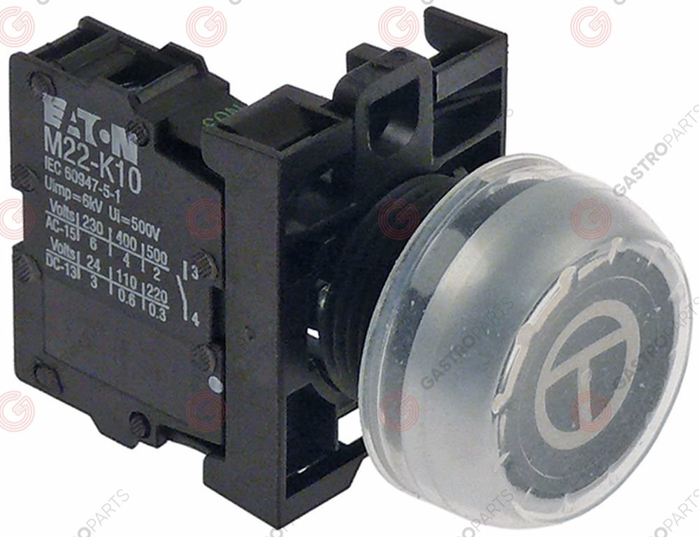 348.126, Momentary push switch black ø 22,5mm 1NO tipping momentary