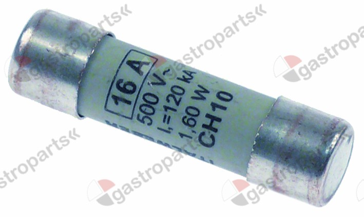358.027, fine fuse size ø10x38mm 16A rated 500V type Gg fast-acting Qty 1 pcs