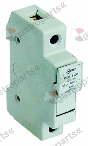 358.075, fuse holder for for fuse ø10x38mm suitable fuse ø10x38mm 1-pole 32A rated 690V