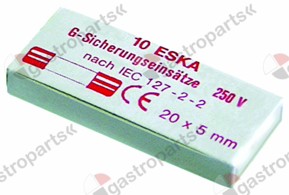 358.530, fine fuse size ø5x20mm 0,8A fast-acting rated 250V Qty 10 pcs
