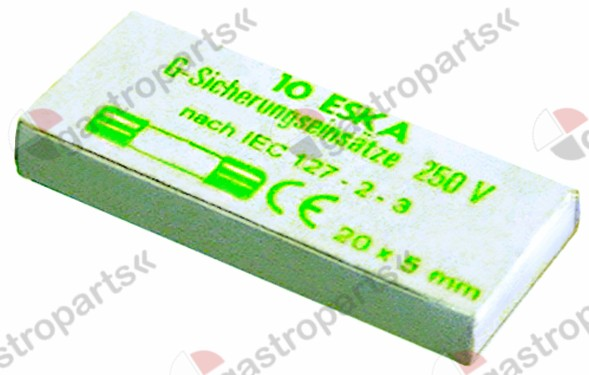 358.608, fine fuse size ø5x20mm 10A slow-acting rated 250V Qty 10 pcs