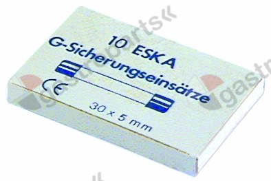358.714, fine fuse size ø5x30mm 1,25A fast-acting rated 500V Qty 10 pcs