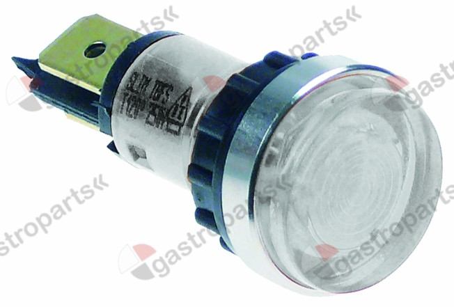359.021, indicator light ø 12mm 230V clear connection male faston 6.3mm