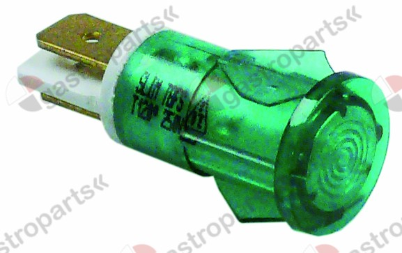 359.041, indicator light ø 12mm green 230V connection male faston 6.3mm temp.-resist. 120°C