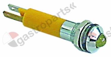 359.402, indicator light LED mounting ø 8mm 24VDC yellow connection F2.8x0.8 20mA mounting thread M8