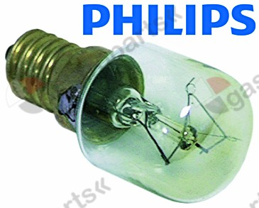 359.610, light bulb t.max. 300°C socket E14 15W 230V ø 22mm L 46mm lens L 20mm for oven lamp type Philips