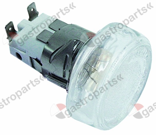 359.660, oven lamp mounting ø 35,5mm 230V 25W socket E14 temp.-resist. 300°C connection male faston 6.3mm