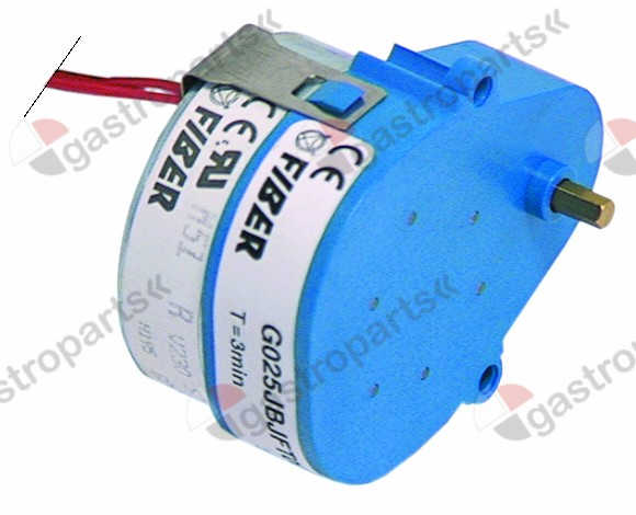 360.107, No longer available / gear motor FIBER type G025JBJFE00 230V 50/60Hzrun-time 120s 0,5rpm shaft ø 4,5mm L 66mm W 50mm