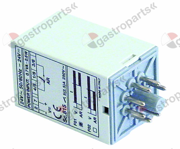 360.223, time relay CDC Sc815 time range 6s 24VAC/DC 10A 1CO connection plug-in connection round 8-pole
