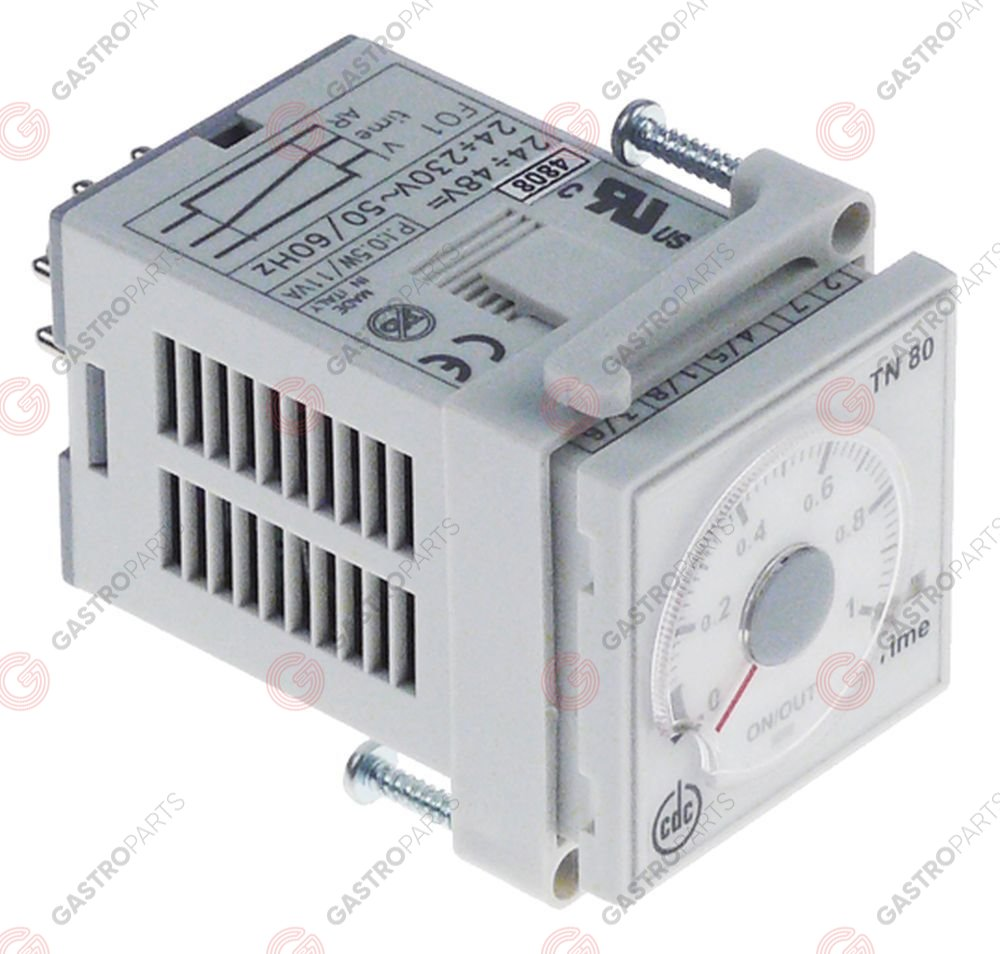 360.468, time relay CDC TN 80 time range 3s-60min 24-230VAC/24-48VDC 6A 1CO 8-pole
