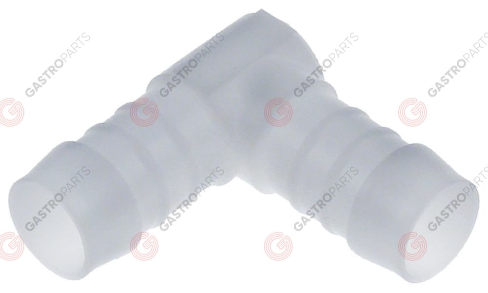 361.042, connecting piece plastic hose ø 19-19mm angled