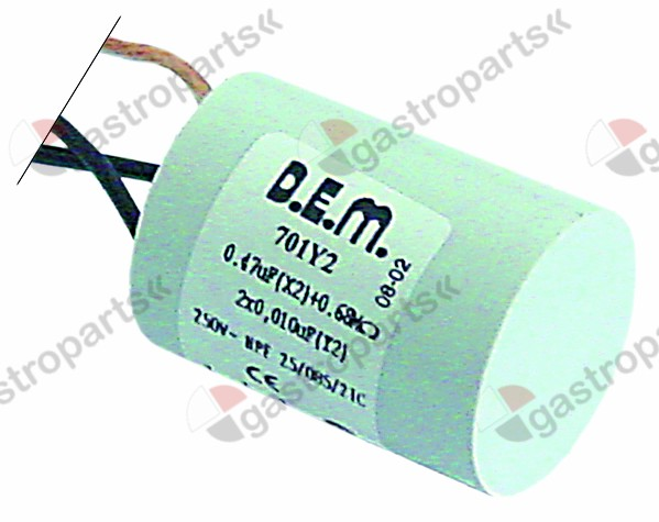 365.045, interference suppression filter type FC701Y2F 250V 50-60Hz conductor 2 with E connection cable 200mm