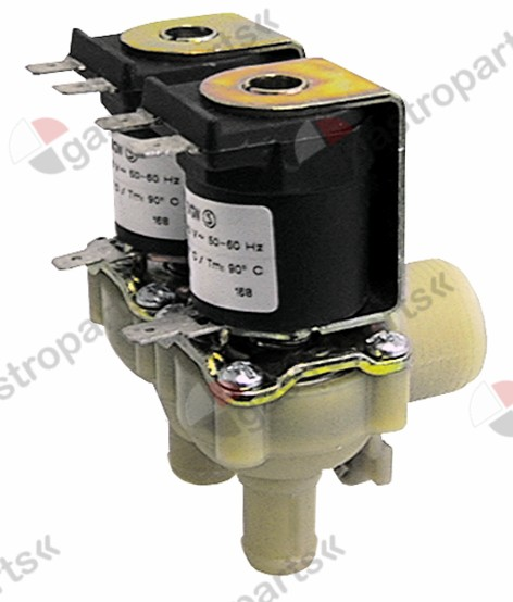 370.003, solenoid valve double angled 230V inlet 3/4