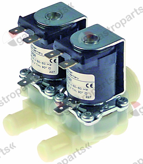 370.004, solenoid valve double straight 230V inlet 3/4
