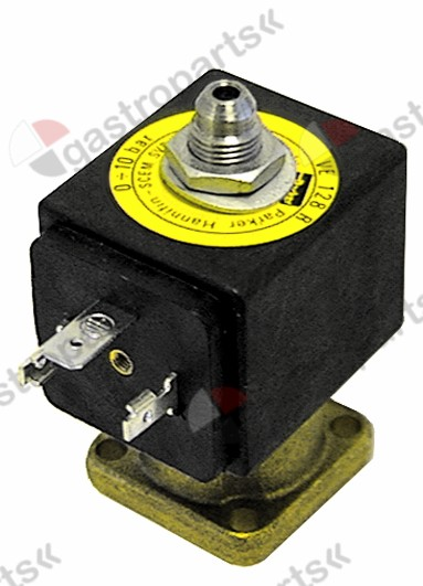 370.050, solenoid valve 3-ways 24 VAC body outer cone DN 1,2mm slide-on receptacle DIN -20° up to 140°C