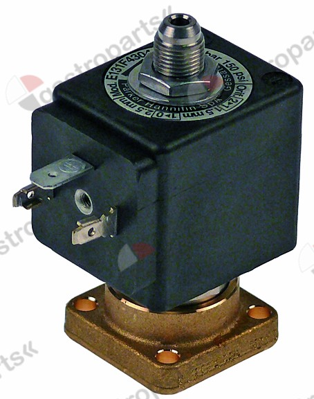 370.057, solenoid valve 3-ways 230 VAC body outer cone DN 1,2mm slide-on receptacle DIN -20° up to 140°C