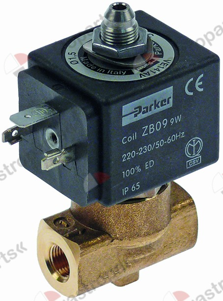 370.059, solenoid valve 3-ways 230 VAC connection 1/4