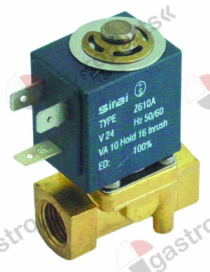 370.083, solenoid valve 2-ways 230 VAC connection 1/4