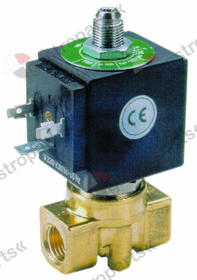 370.089, solenoid valve brass 3-ways 230 VAC connection 1/4