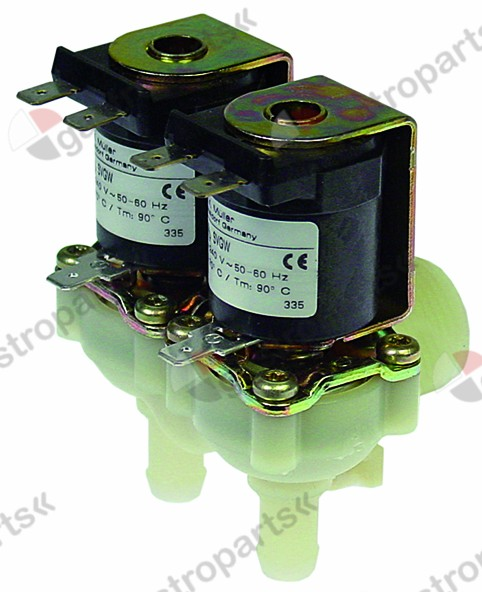 370.094, solenoid valve double angled 230V inlet 3/4