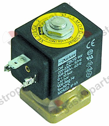 370.202, Elektromagnetický ventil 2-way 230 VAC DN 2,5 mm jack DIN -20 ° do + 130 ° C PARKER