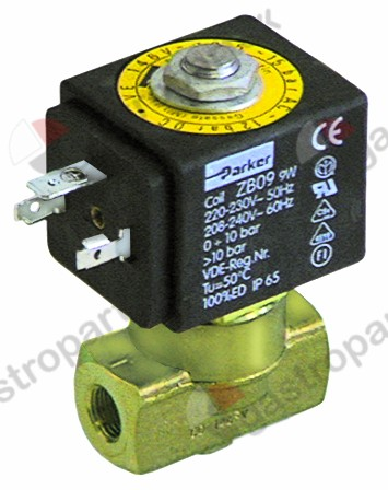 370.206, solenoid valve 2-ways 230 VAC connection 1/8