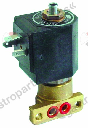 370.213, solenoid valve 3-ways 230 VAC DN 1,5mm slide-on receptacle DIN -20° up to 130°C M&M