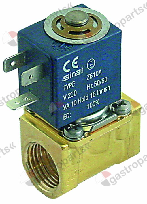 370.239, solenoid valve 2-ways 230 VAC connection 1/2