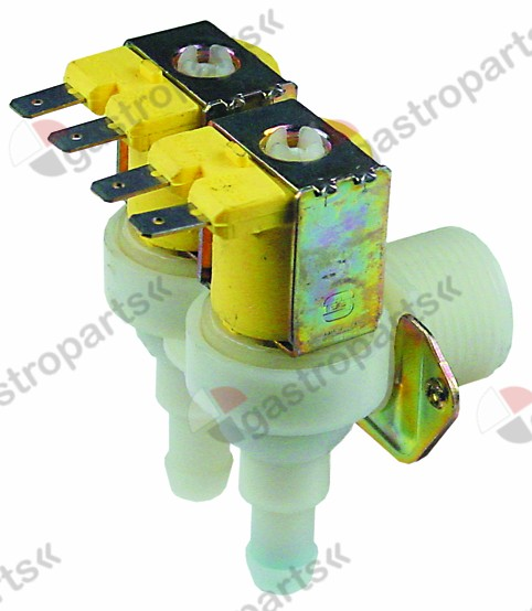 370.340, solenoid valve double angled 24V inlet 3/4