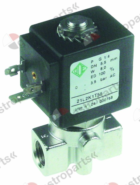 370.349, solenoid valve stainless steel 230 VAC connection 1/4