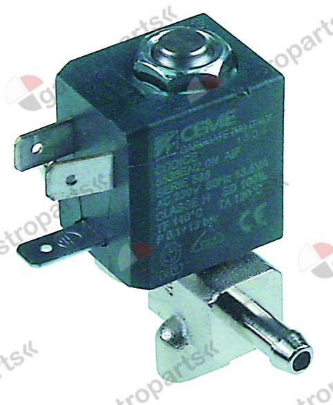 370.350, solenoid valve SS 230V inlet 6,5mm outlet 6,5mm -10 up to 140°C hose ø 6mm combi-steamer body SS