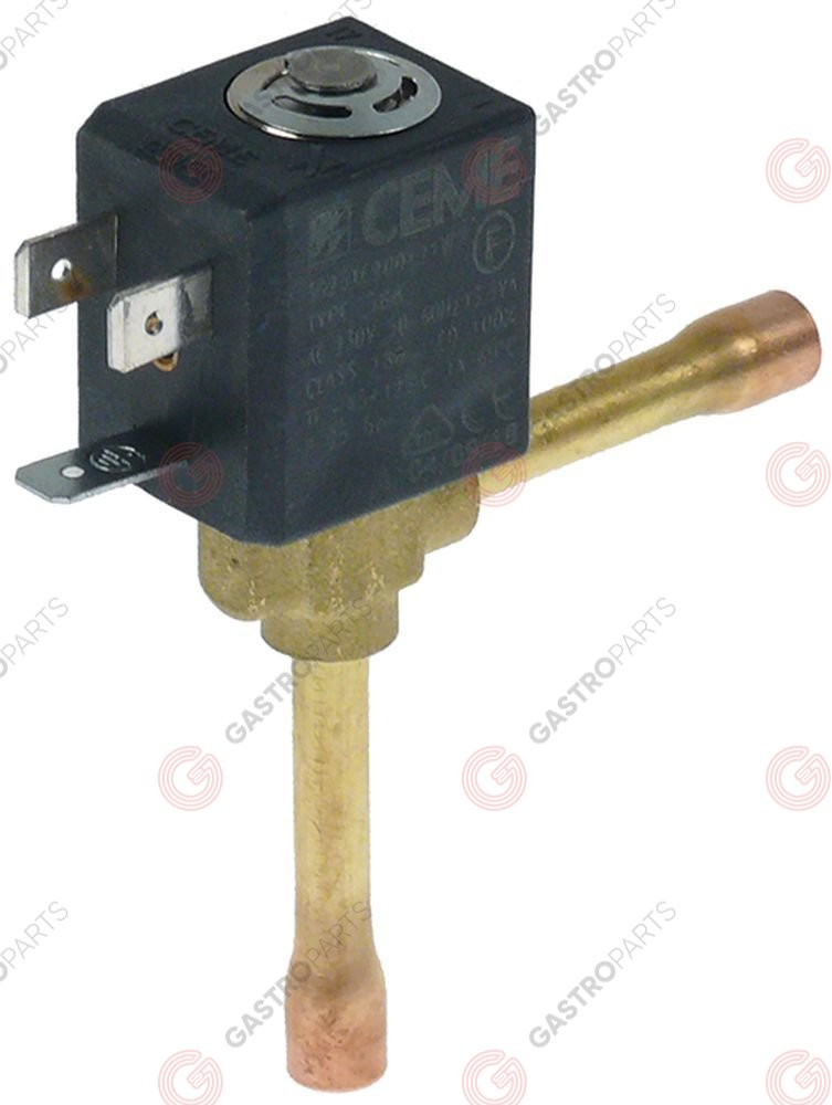 370.406, solenoid valve angled p max 25bar DN1.5 connection 6mm soldering connection