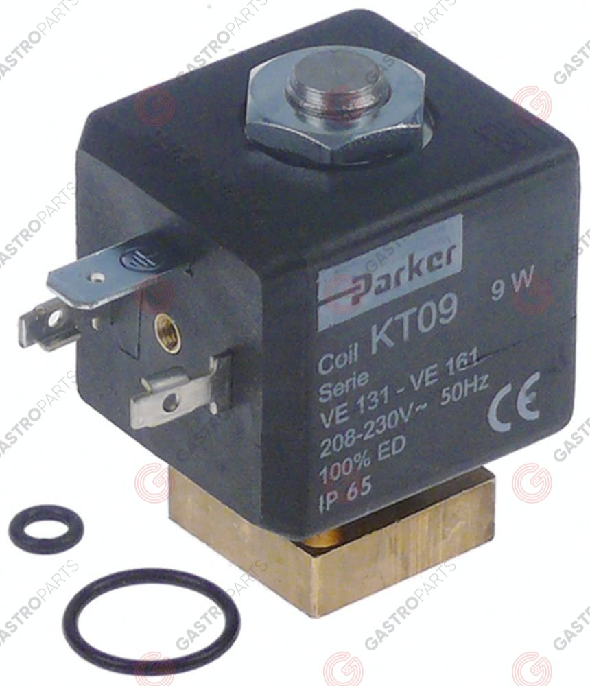370.549, solenoid valve 2-ways 230 VAC with O-rings PARKER coil type KT09 60Hz flange 22x22mm