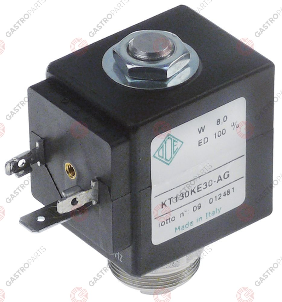 370.556, solenoid valve stainless steel 230 VAC connection M22x1 2-way slide-on receptacle DIN