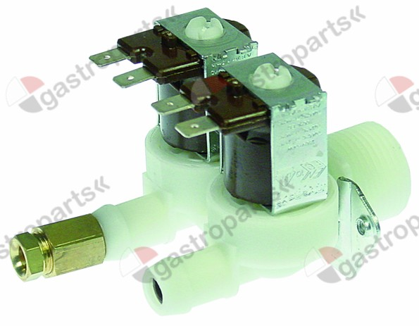 372.214, solenoid valve double straight 230V inlet 3
