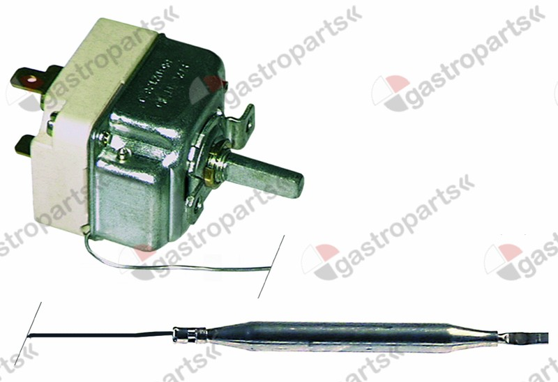 375.004, thermostat t.max. 211°C temperature range 35-200°C 1-pole 1CO 16A probe ø 6mm probe L 74mm
