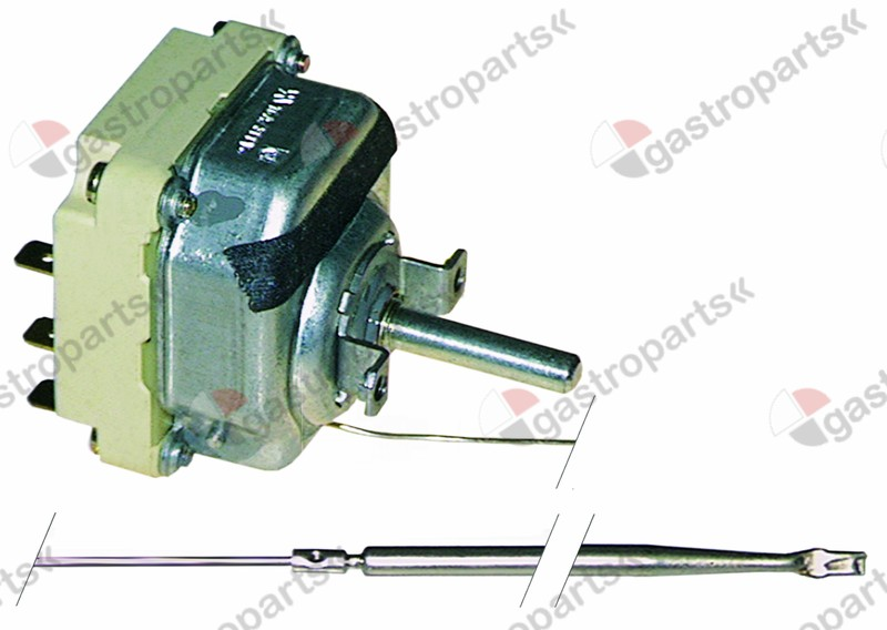 375.027, thermostat t.max. 470°C temperature range 50-470°C 3-pole 3NO 16A probe ø 3,9mm probe L 308mm