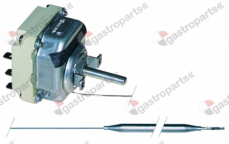 375.038, thermostat t.max. 300°C temperature range 50-300°C 3-pole 3NO 16A probe ø 6mm probe L 79mm